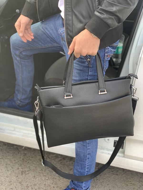 Сумка-портфель для ноутбука и документов кожаная мужская Tiding Bag A25-7C офисная сумка из кожи черная