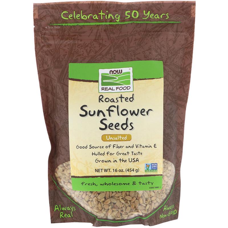 """Смажені насіння соняшнику NOW Foods, Real Food """"Roasted Sunflower Seeds"""" без солі (454 г)"""
