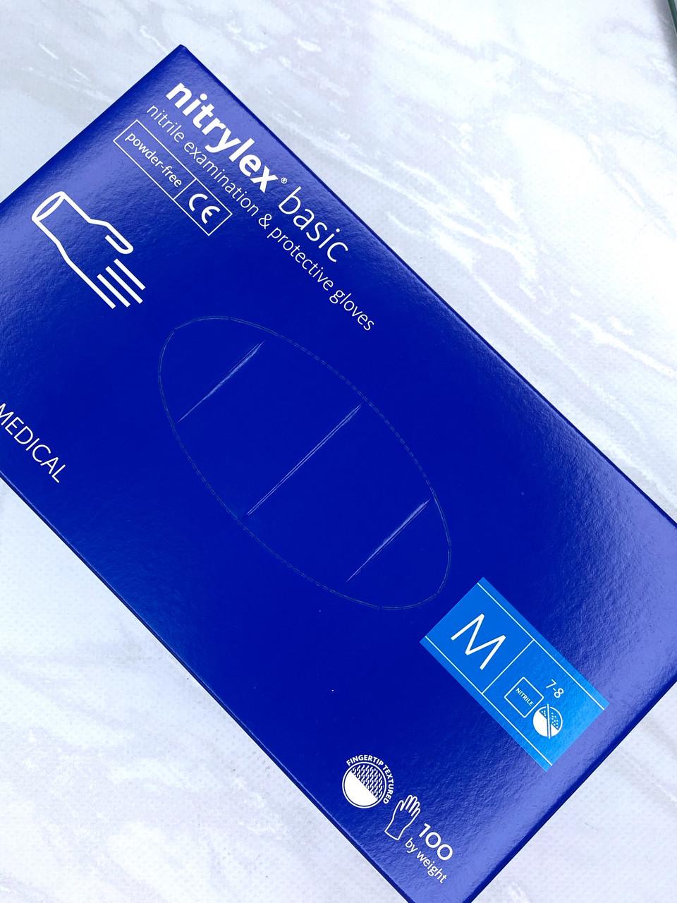Перчатки Nitrilex синие размер М, упаковка 100 штук.