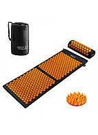 Коврик масажный акупунктурный с валиком 4FIZJO Аппликатор Кузнецова 128 x 48 см 4FJ0049 Black/Orange