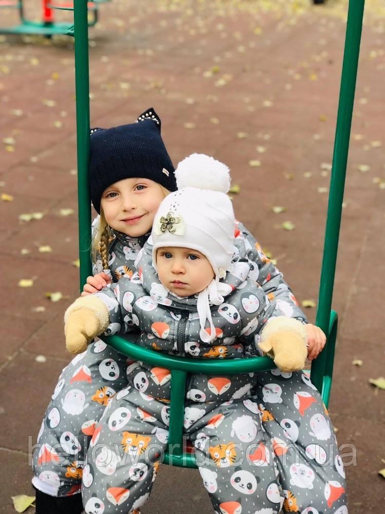 Комбинезон детский демисезонный МОРДОЧКИ НА СЕРОМ