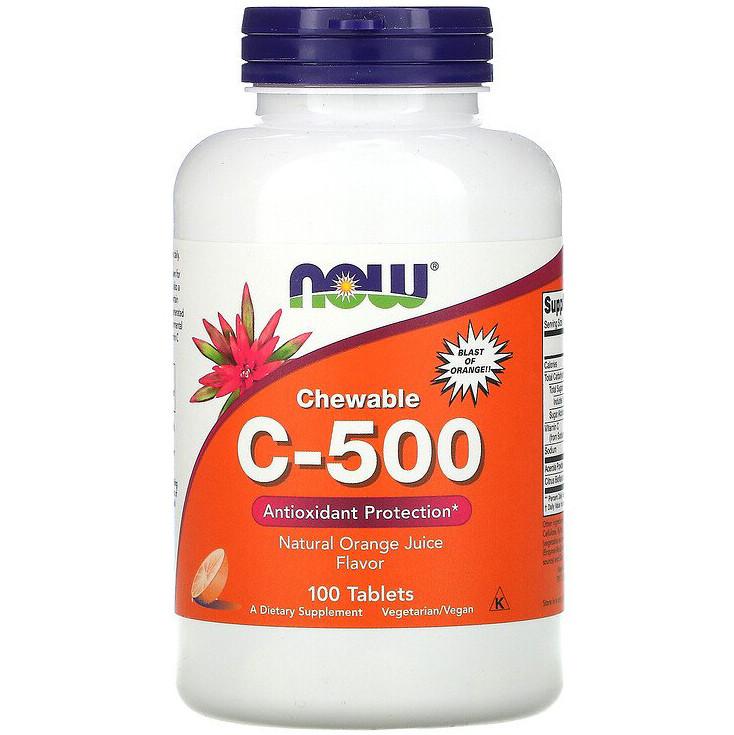 """Жевательный витамин С, NOW Foods """"Chewable C-500"""" со вкусом апельсинового сока (100 таблеток)"""