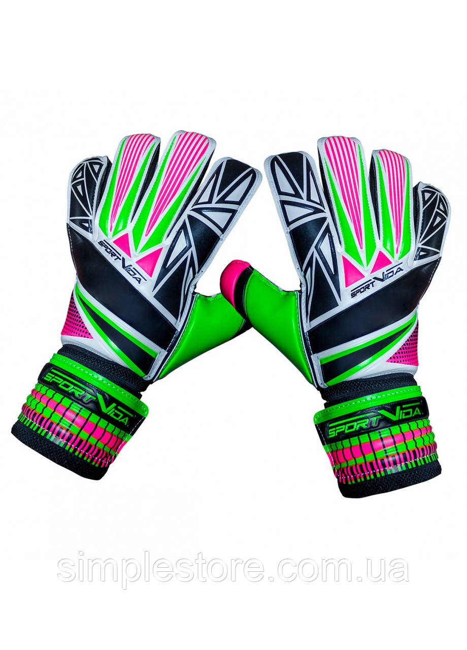 Вратарские перчатки SportVida SV-PA0002 размер 5. Футбольные перчатки зеленые, перчатки для футбола