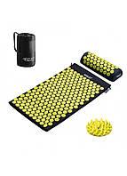 Коврик массажный акупунктурный с валиком 4FIZJO Аппликатор Кузнецова 72 x 42 см 4FJ0086 Black/Yellow