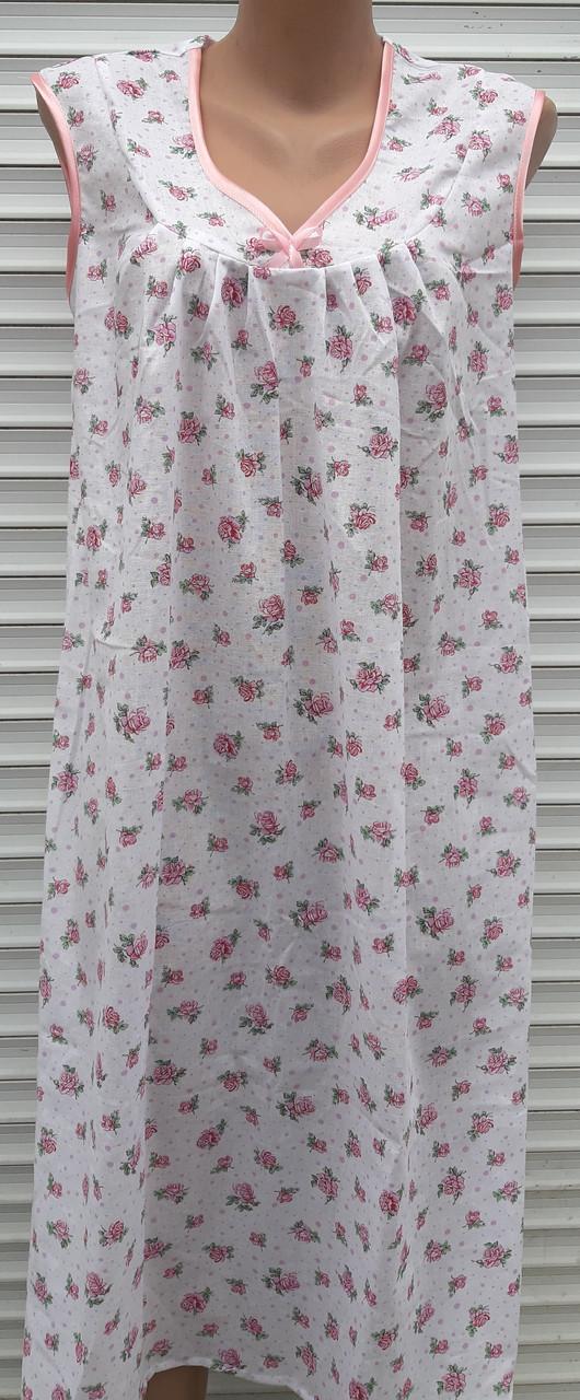 Нічна сорочка без рукава 48 розмір Рожеві трояндочки