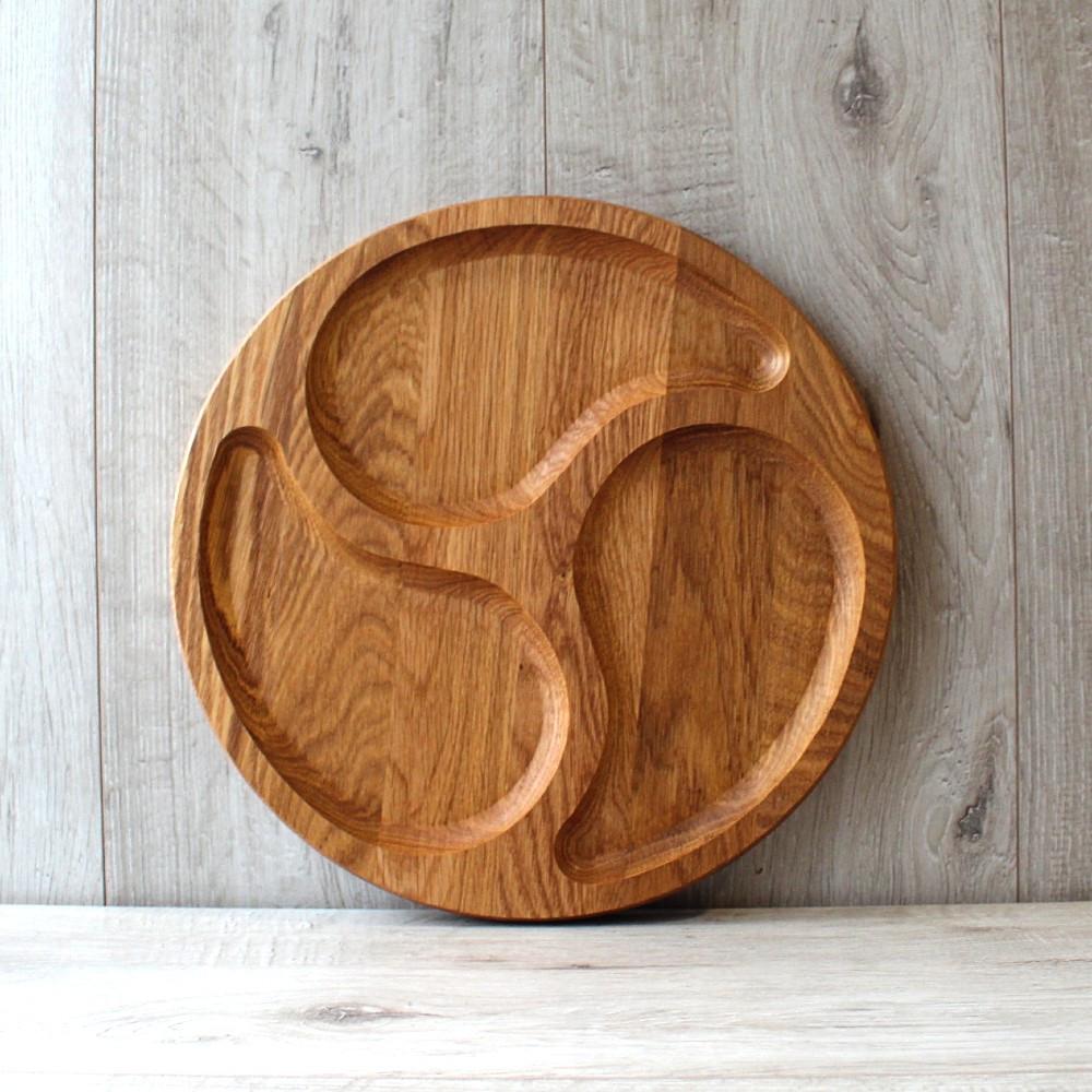 Менажниця кругла дерев'яна три поділки Ø 250 мм (Т10)