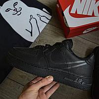Мужские кроссовки Nike Air force 1 low React black демисезонные. Живое фото. Чоловічі кросівки весна. Replic