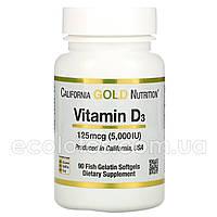 "Витамин D-3 ""California Gold Nutrition"" 125 мкг (5000 МЕ) 90 капсул"