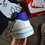 Мужские кроссовки Nike Air force 1 low React белые демисезонные. Живое фото. Реплика. Чоловічі кросівки весна, фото 4