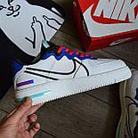 Мужские кроссовки Nike Air force 1 low React белые демисезонные. Живое фото. Реплика. Чоловічі кросівки весна, фото 5