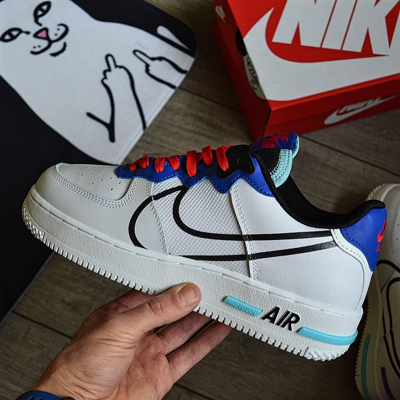 Мужские кроссовки Nike Air force 1 low React белые демисезонные. Живое фото. Реплика. Чоловічі кросівки весна