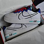 Мужские кроссовки Nike Air force 1 low React белые демисезонные. Живое фото. Реплика. Чоловічі кросівки весна, фото 2
