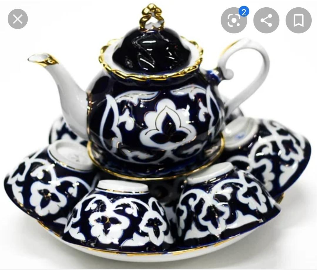 Узбецький сервіз Пахта (бавовна) з 10 предметів. Узбецька посуд. Традиційний чайний сервіз узбецький.