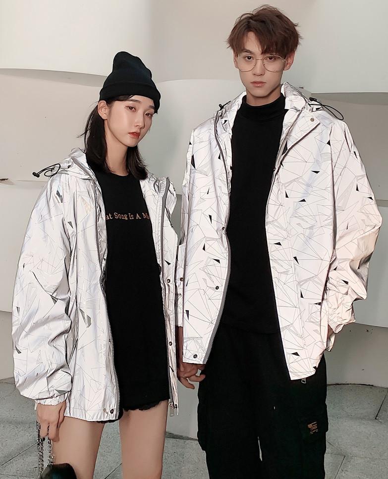 Куртка светоотражающая с капюшоном унисекс свободная модель женская и мужская
