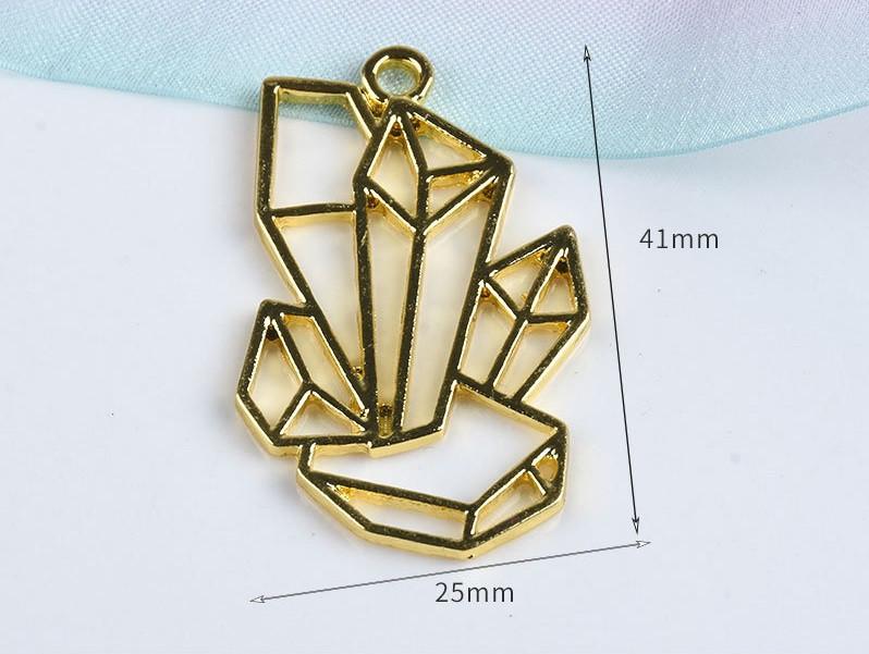 Форма (рамка, подвеска) для эпоксидной смолы, Кристалл 2, золото