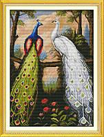 Пара павлинов в лесу Набор для вышивки крестом  канва 14ст