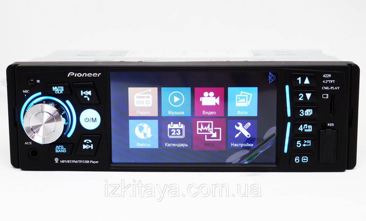 "1 din Автомагнитола пионер Pioneer 4229 экран 4,1"" Bluetooth подсветка RGB 1 дин магнитола MP5 пульт на руль"