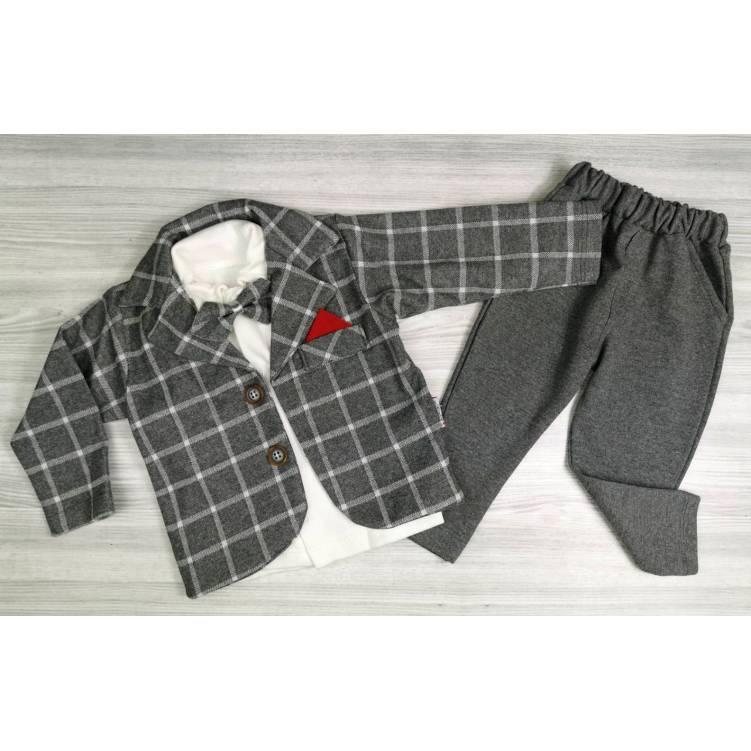 Детский нарядный костюм-тройка на мальчика серый с бабочкой