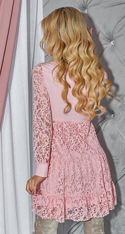 Нежное женское кокетливое платье пудрового цвета, фото 2