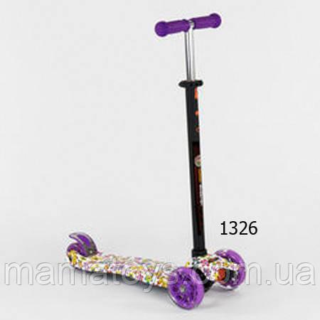 Детский трехколесный Самокат А 25528 /779-1326 Best Scooter Фиолетовый Макси Колеса PU, светятся