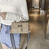 Женская классическая сумочка через плечо кросс-боди два ремешка бежевая, фото 3