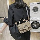 Женская классическая сумочка через плечо кросс-боди два ремешка бежевая, фото 2