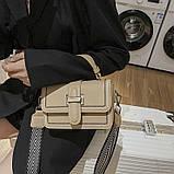 Женская классическая сумочка через плечо кросс-боди два ремешка бежевая, фото 6