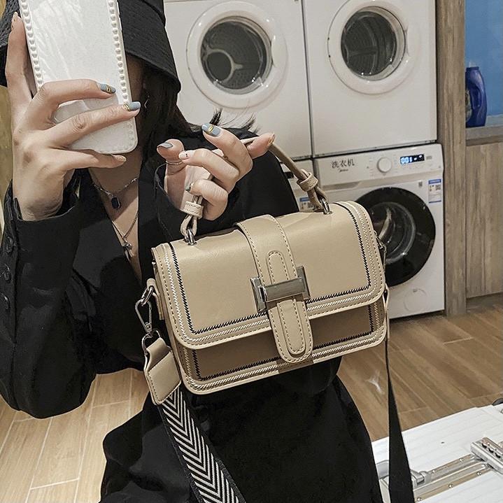 Женская классическая сумочка через плечо кросс-боди два ремешка бежевая
