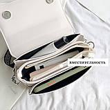 Женская классическая сумочка через плечо кросс-боди два ремешка бежевая, фото 8