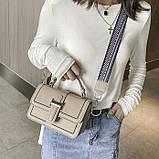 Женская классическая сумочка через плечо кросс-боди два ремешка бежевая, фото 5