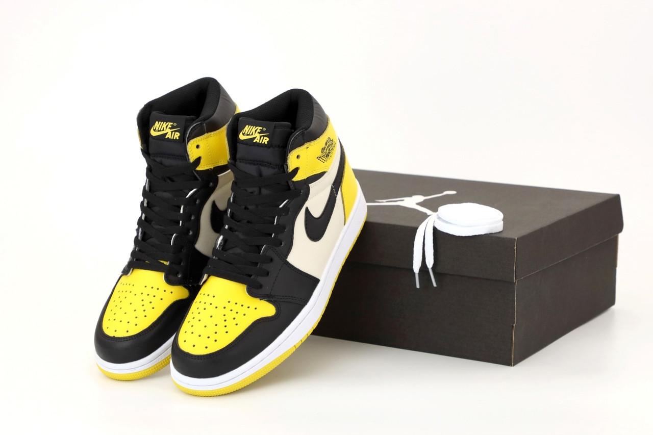 Кроссовки мужские Nike Air Jordan High OG в стиле найк джордан Желтые (Реплика ААА+)