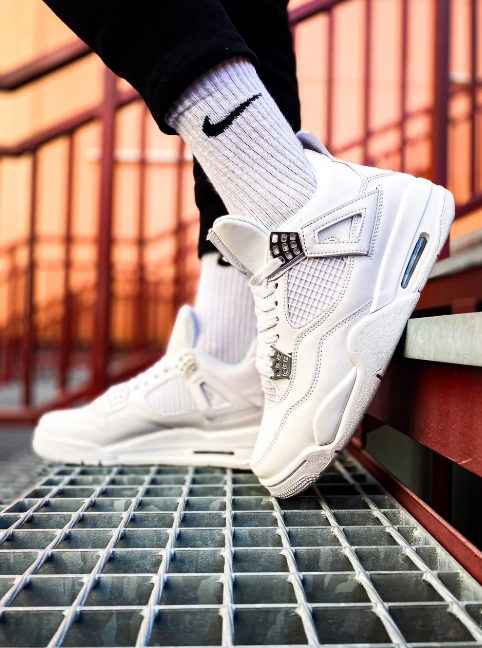 Кроссовки мужские Nike Air Jordan Retro 4 White в стиле найк джордан (Реплика ААА+)