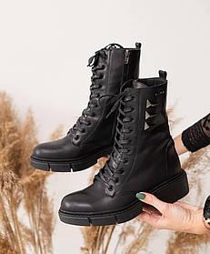 Женские ботинки кожаные зимние черные Carlo Pachini 4-4648/21-114