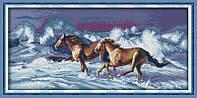Кони пара Набор для вышивки крестом  канва 14ст