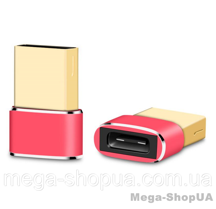 Адаптер Voxlink USB Male to Type-C Female Adapter Converter Red. Переходник Type-C (мама) - USB (папа)