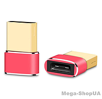 Адаптер Voxlink USB Male to Type-C Female Adapter Converter Red. Переходник Type-C (мама) - USB (папа), фото 1
