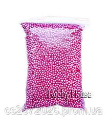Шарики пенопластовые 2-4 мм,1000 мл, Малиновый, для слаймов и декора.