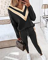 Красивый модный женский (прогулочный) костюм двухнить +люрекс Цвет чёрный Размеры 42-44,46-48,50-52