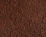 Натяжные чехлы на угловой диван накидка еврочехол Все цвета Кремовый жаккардовый с оборкой, фото 6
