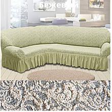 Натяжные чехлы на угловой диван накидка еврочехол Все цвета Кремовый жаккардовый с оборкой