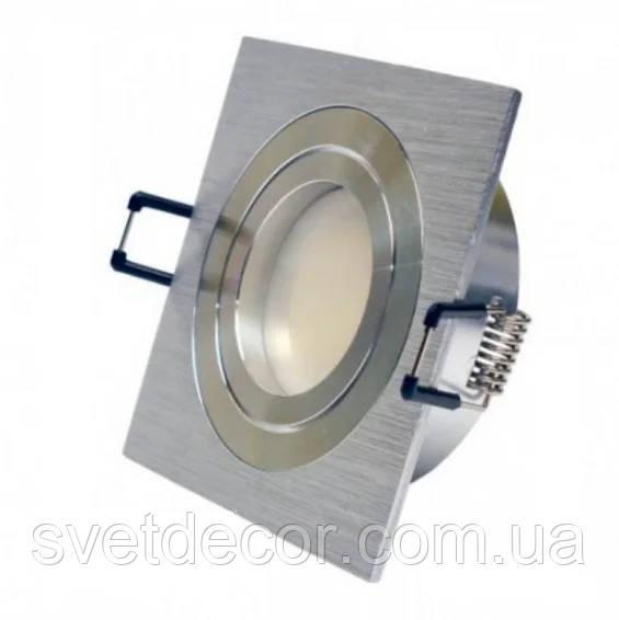 Встраиваемый светильник Feron DL6120 алюминиевый точечный квадратный поворотный серебро