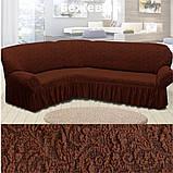 Натяжні чохли на кутові дивани накидка, еврочехол на кутовий диван Всі кольори Бежевий жакардовий з оборкою, фото 5