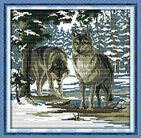 Волки в зимнем лесу Набор для вышивки крестом  канва 14ст