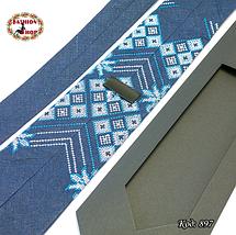 Вышитый галстук лён Морозные узоры, фото 2
