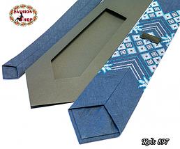 Вышитый галстук лён Морозные узоры, фото 3