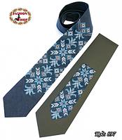 Вышитый галстук лён Морозные узоры
