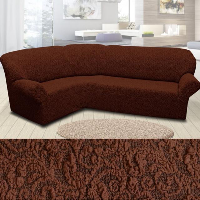 чехлы на угловые диваны без оборки коричневый