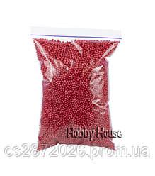 Шарики пенопластовые 2-4 мм,1000 мл,Красные,для слаймов и декора.