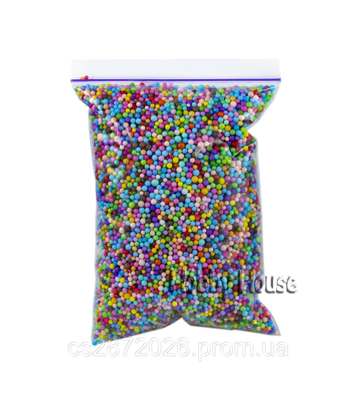 Пенопластовые шарики для слаймов и декора.  2-4 мм,1000 мл, Микс (разные цвета).