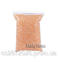 Шарики пенопластовые 2-4 мм, 1000 мл,Персиковые, для слаймов и декора.